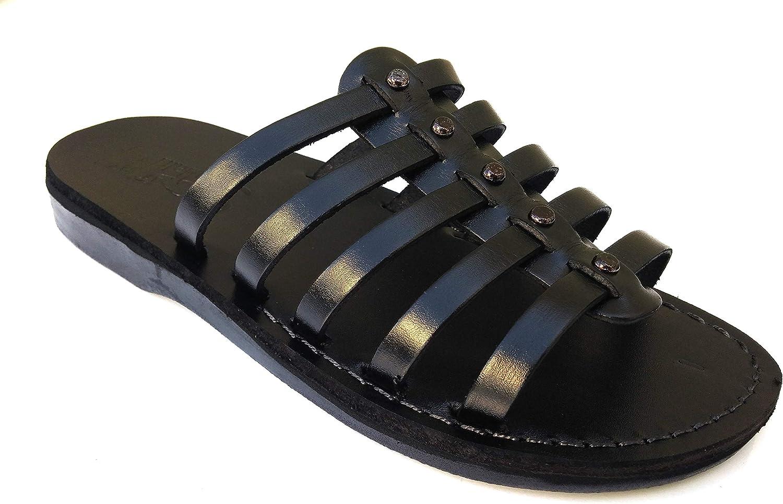 Sandales en cuir Santal sandales Bible pantoufles herrar et kvinnor confortables 11 Färgs Neptune style svart