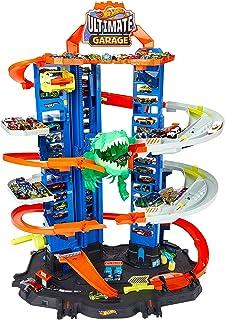 Hot Wheels GJL14 City Robo T Rex Megacity parkeergarage met speelgoed dinosaurus incl. 2 speelgoedauto's, cadeau-idee voor...