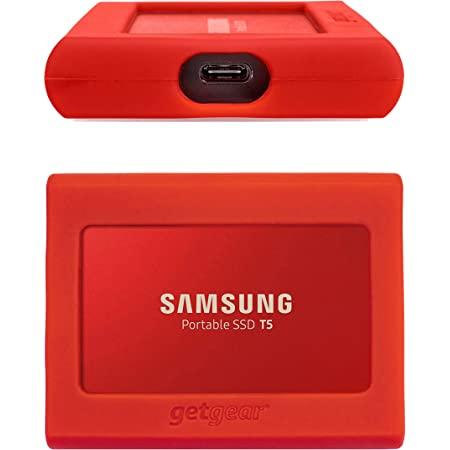 getgear Silicone Bumper for Samsung Portable SSD T5 Strong-Shock Absorbing Slip-Resistant Gold