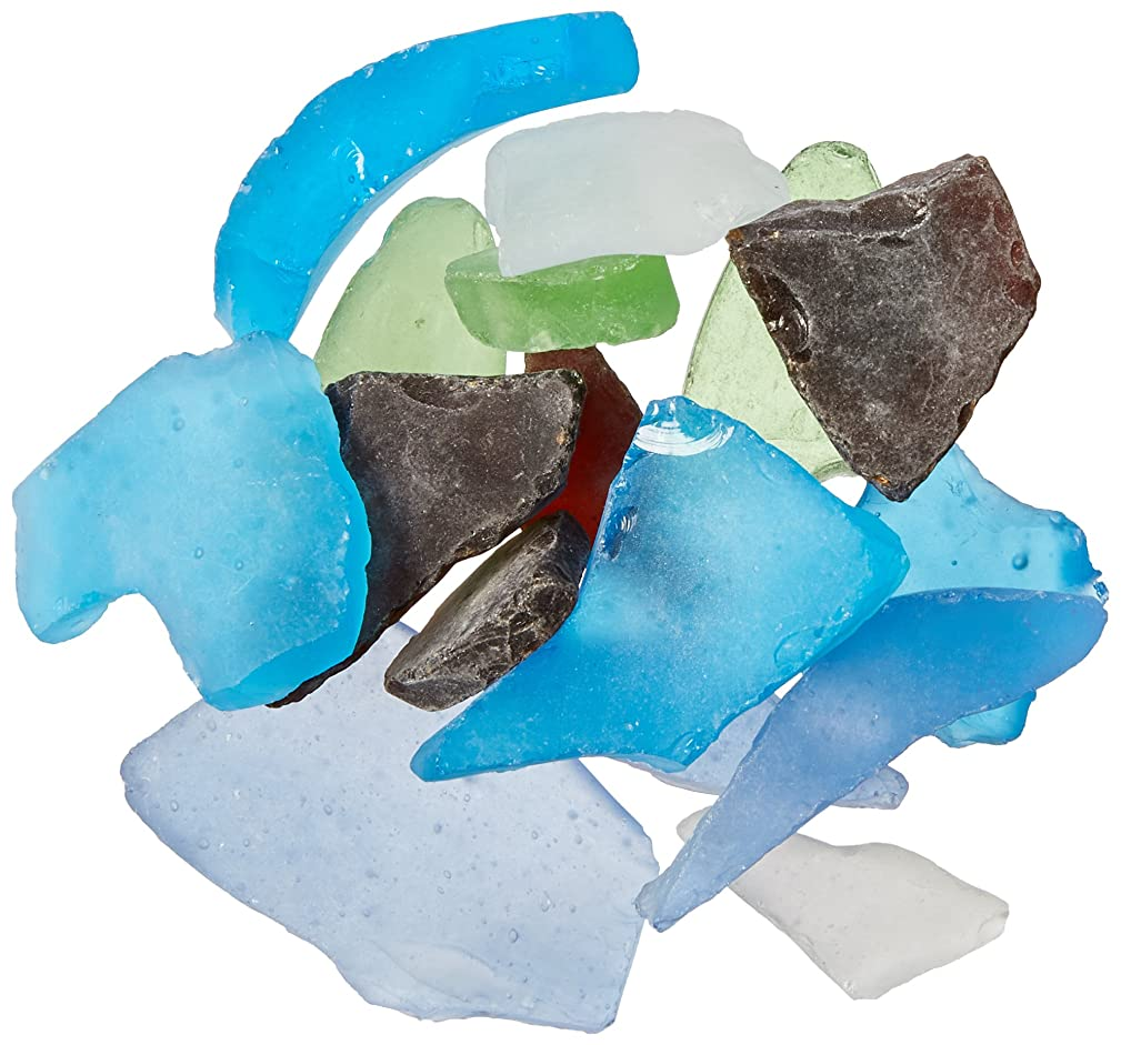 Darice Sea Glass in Mesh Bag - Multicolor Rainbow Mix - 1lb-color may vary