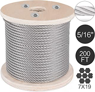 Mophorn 304 Stainless Steel Cable 0.31 Inch 7 X 19 Steel Wire Rope 200Feet Steel Cable for Railing Decking DIY Balustrade