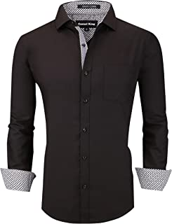 Mens Dress Shirts Wrinkle-Free Regular Fit Long Sleeve Button Down Shirt for Men