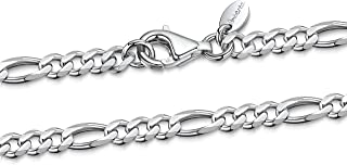 925 Sterling Silver Necklace for Men - Flat Figaro Chain 3.9 mm Thick