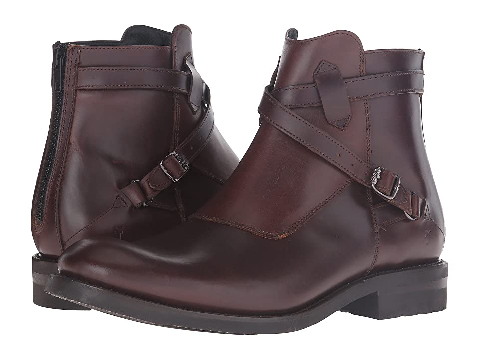 Frye Stone Cross Strap (Dark Brown Smooth Pull-Up) Men
