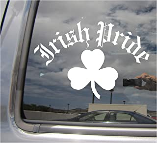 Right Now Decals - Old English Irish Pride - Clover Ireland Country - Cars Trucks Moped Helmet Hard Hat Auto Automotive Craft Laptop Vinyl Decal Store Window Wall Sticker 10540