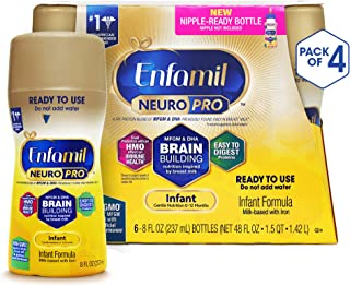 Enfamil NeuroPro Ready to Feed Baby Formula Milk, 8 fluid ounce (24 count) - MFGM, Omega 3 DHA, Probiotics, Iron & Immune Support