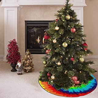 AHOOCUSTOM Merry Christmas Tree Skirt Colored Tie Dye, Lollipop Design Xmas Tree Xmas Decoration Supplies Patchwork 48 Inch