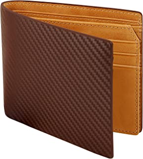Men's Bifold Carbon Fiber Leather Wallet with RFID Blocking 2 Cash Compartment(Brown+Yellow)