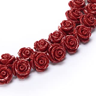 BRCbeads Top Quality 15mm RED Synthetic Turquoise Carved Rose Howlite Coral Flower Carving Loose Beads 15 pcs per Bag For Jewelry Making