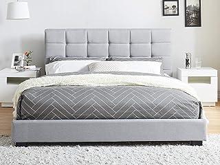Générique Lit Adulte avec tête de lit capitonnée en Tissu Gris Clair, sommier à Latte, 160x200- Collection William