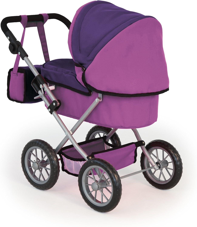 Bayer Design 13012AA Puppenwagen Trendy, höhenverstellbar, zusammenklappbar, mit Tasche, Motiv: Fee, lila Lila