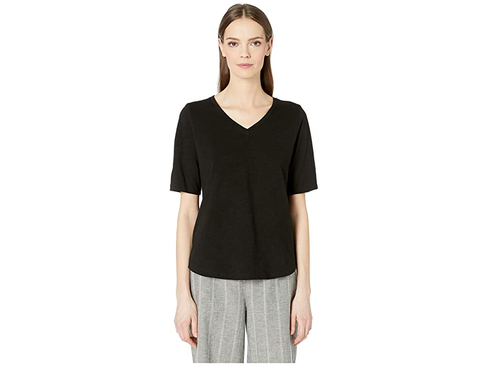 Eileen Fisher Organic Cotton Slub V-Neck Top (Black) Women