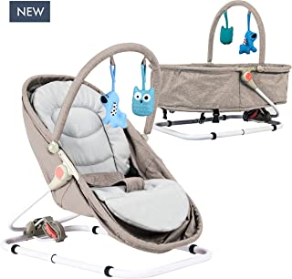 Baby Portable Bassinet & Bouncer Travel Bassinet, Rocker, Bouncer with Two Modes of use, Newborn Portable Baby Bassinet. … (Sand)