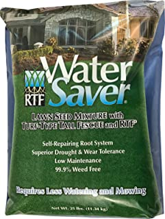 WaterSaver Grass Seed Mixture With Turf-Type Tall Fescue - Used to Seed New Lawn and Patch Up Jobs - Grows in Sun or Shade - 25 lbs - Covers 1/10 Acre