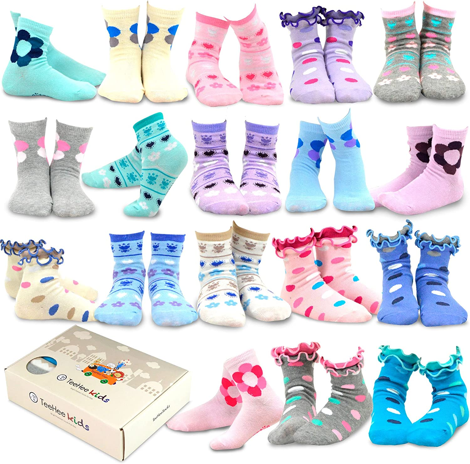 TeeHee Little Girls and Toddler Cute Novelty and Fashion Cotton Crew Socks 18 Pair Pack Gift Box