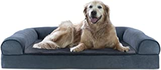 FurHaven Pet Dog Bed   Cooling Gel Memory Foam Orthopedic Faux Fleece & Chenille Soft Woven Sofa-Style Couch Pet Bed for D...