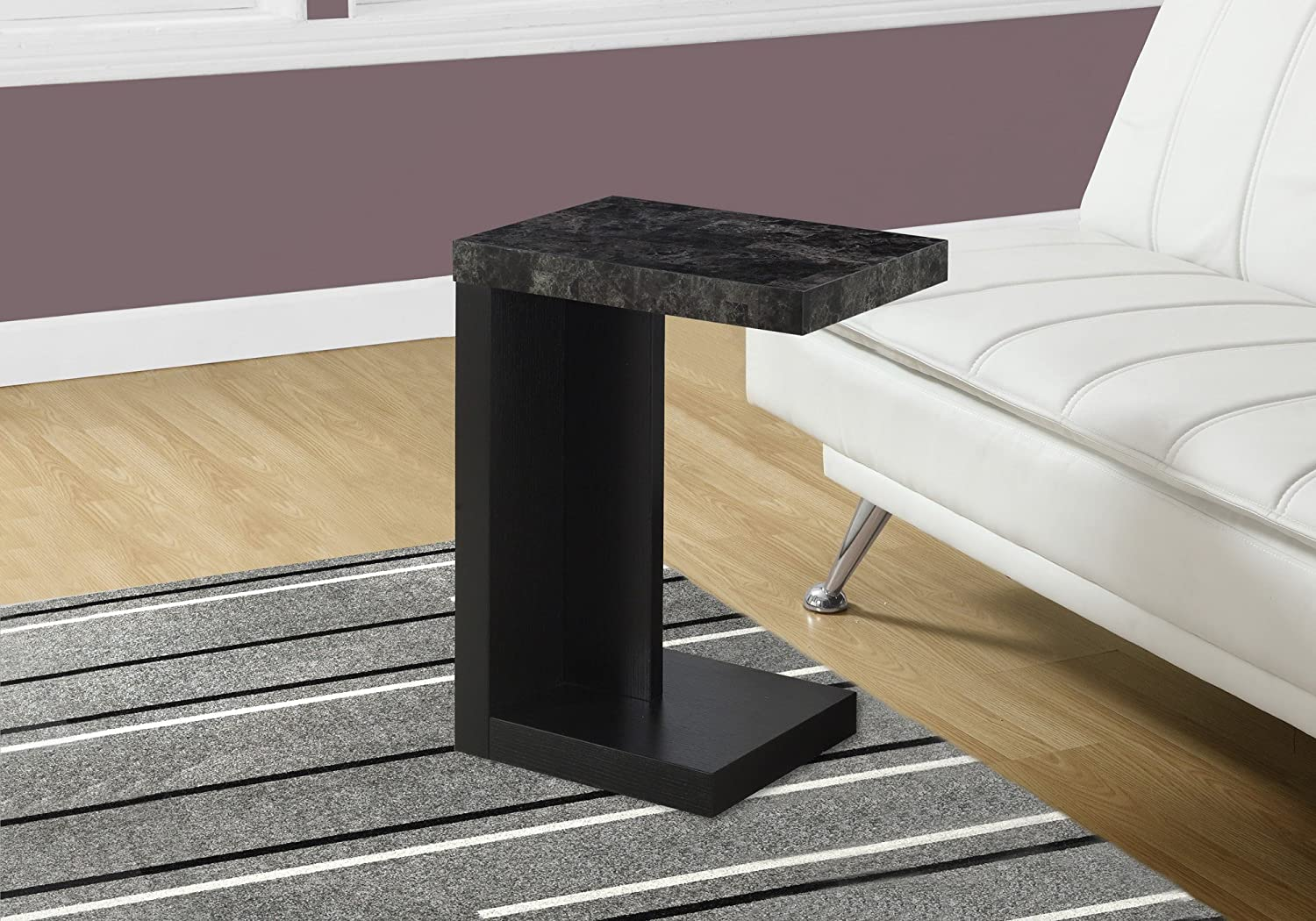 Monarch Specialties I 3211 Accent Table with Marble Look Top, Black Grey