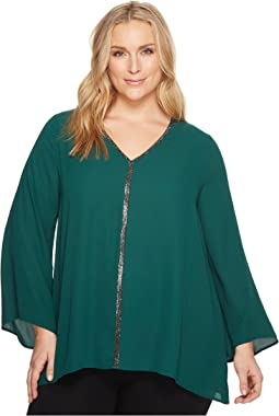 Karen Kane Plus - Plus Size Sparkle Flare Sleeve Top