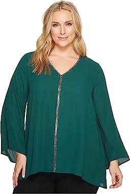 Plus Size Sparkle Flare Sleeve Top
