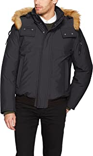 Marc New York by Andrew Marc Men's Lowell Insulated Bomber Jacket with Removable Hood