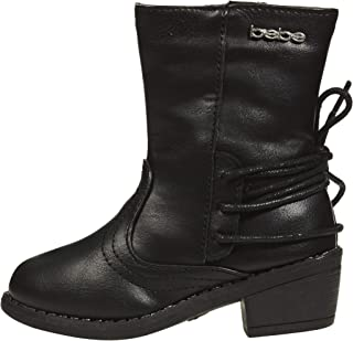 bebe Toddler Girls Lace Up Boots Slip-On Mid-Calf Mid-Heel Fashion PU Shoes