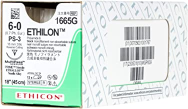 Ethicon ETHILON Nylon Suture, 1665G, Synthetic Non-absorbable, PS-3 (16 mm), 3/8 Circle Needle, Size 6-0, 18