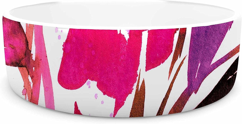 KESS InHouse Ebi Emporium Pocket Full of Posies 11  Nature Pink Pet Bowl, 7