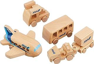 エアプレーングッズ 空港で働く乗り物 木製ひこうきセット ANA MT445