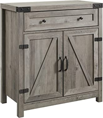 Walker Edison Furniture Company Farmhouse Barn Door Wood Accent Cabinet Entryway Bar Storage Entry Table Living Dining Room,