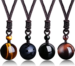 Unisex Natural Tiger Stone Onyx Stone Lucky Blessing Chakra Beads Pendant Adjustable Healing Necklace