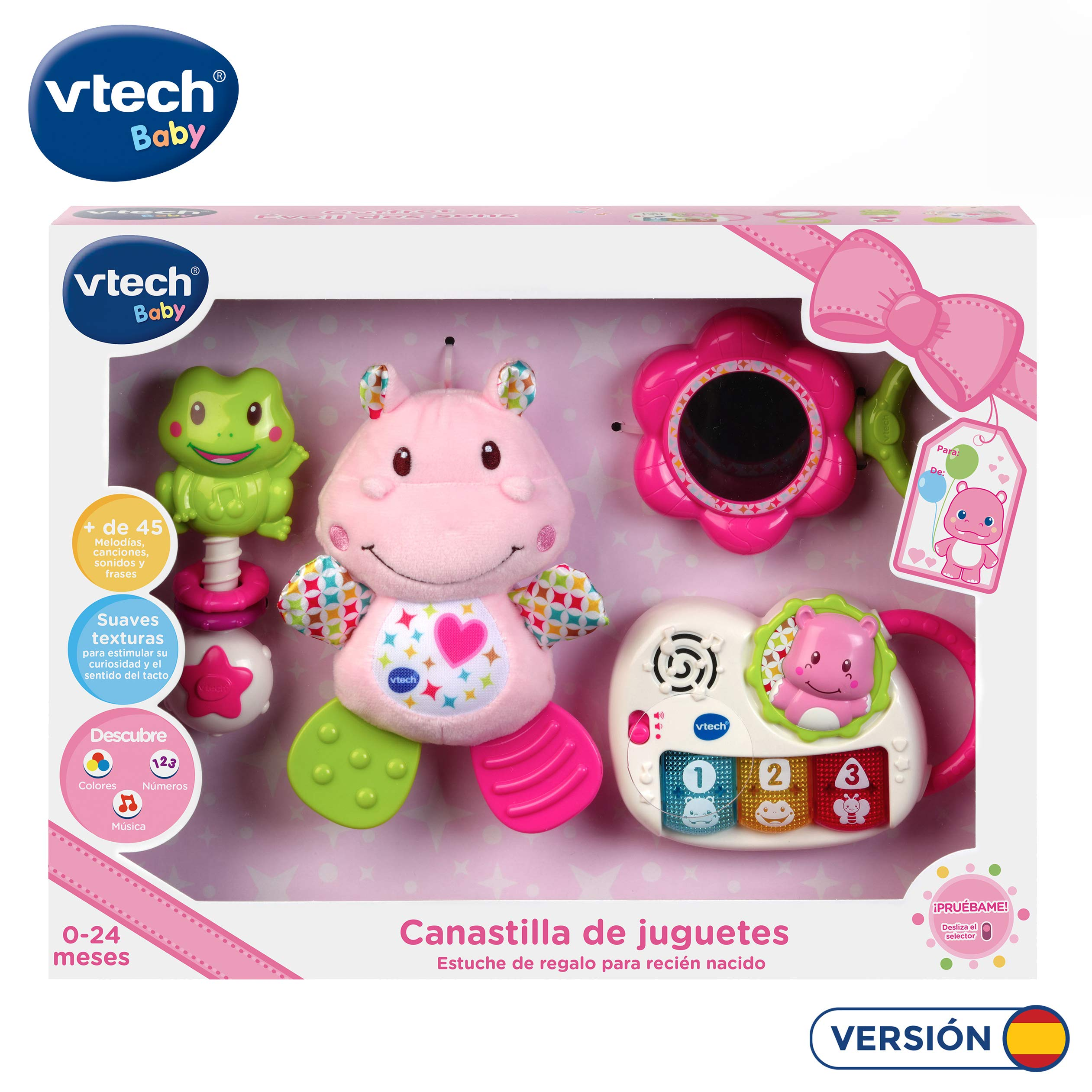 VTech - Canastilla de juguetes, estuche de regalo para bebé recién nacido que incluye peluche mordedor, sonajero, piano interactivo y espejo de seguridad, color rosa (80-522057): Amazon.es: Juguetes y juegos