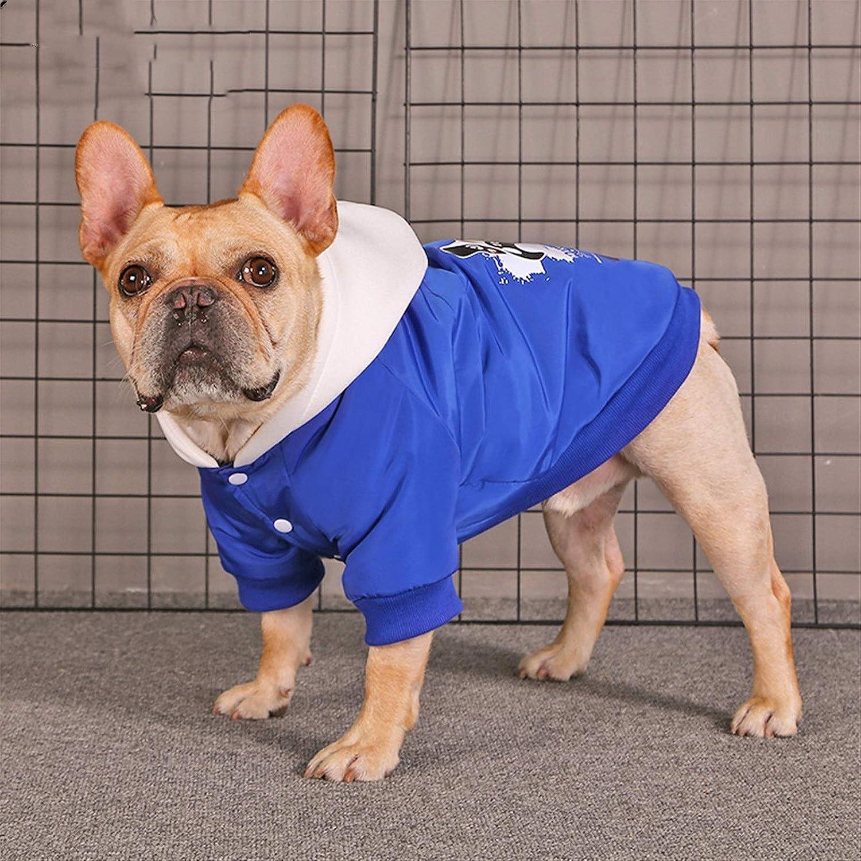 Color : Blue , Size : M Cappotto Per Cani Inverno pet cappotto cane gatto con cappuccio vestiti inverno abbigliamento bulldog schnauzer corgi giacca calda piccola giacca da cane Vestiti Per Cani