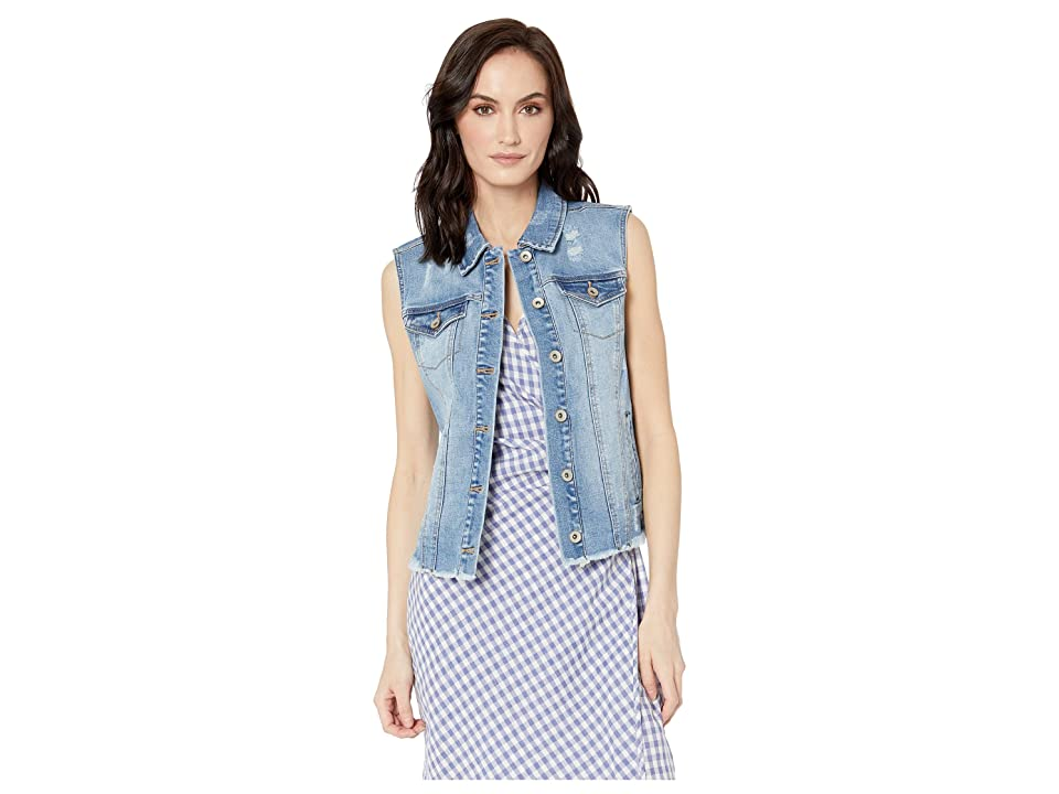 Tribal Denim Distressed Jean Vest (Blue Glow) Women