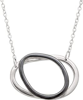All-Around Chic' Double Circle Necklace in Two-Tone Sterling Silver
