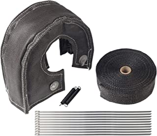 BLACKHORSE-RACING Black Turbo Blanket T3 for Turbocharger Thermal Heat Shield Cover Wrap with Fastener Springs and 2