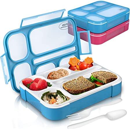 PIXI Creations Pack of 2 Bento Box for Kids, Leak-Proof 6-Compartment Lunch Box Containers with Lids