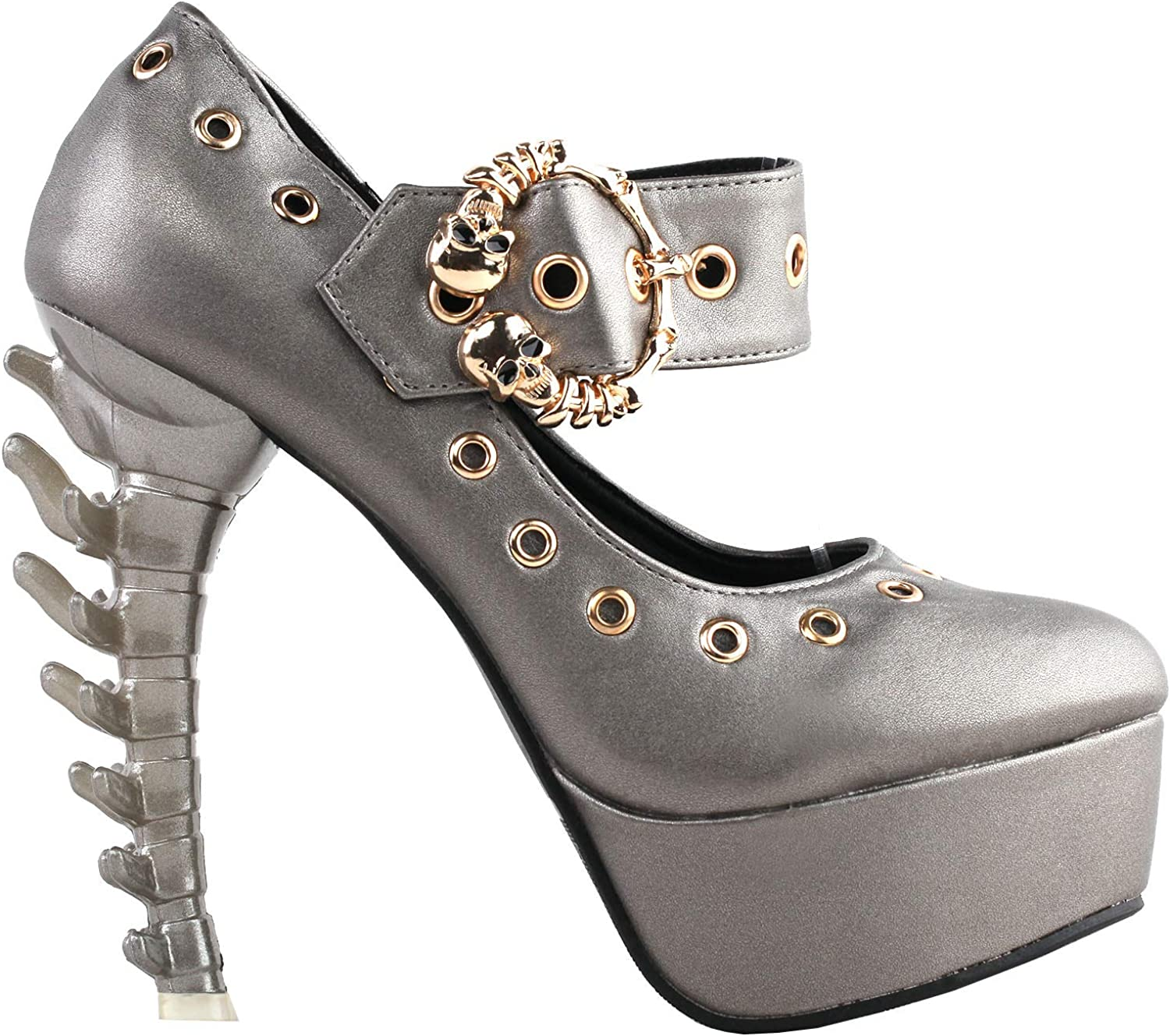 SHOW STORY Super intense SALE Punk Grey Skull Gladiator All stores are sold Mary-Jane Buckle Pla Eyelet