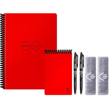 """Rocketbook Smart Reusable Notebook Set - Dot-Grid Eco-Friendly Notebook with 2 Pilot Frixion Pens & 2 Microfiber Cloths Included - Atomic Red Covers, Executive (6"""" x 8.8"""") & Mini Size (3.5"""" x 5.5"""")"""