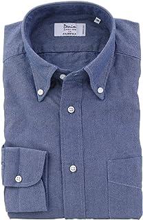 (フェアファクス) FAIRFAX ブルー系 無地 デニム風 ボタンダウン 綿100% イタリア アルビアーテ生地使用 (細身) ドレスシャツ b1825