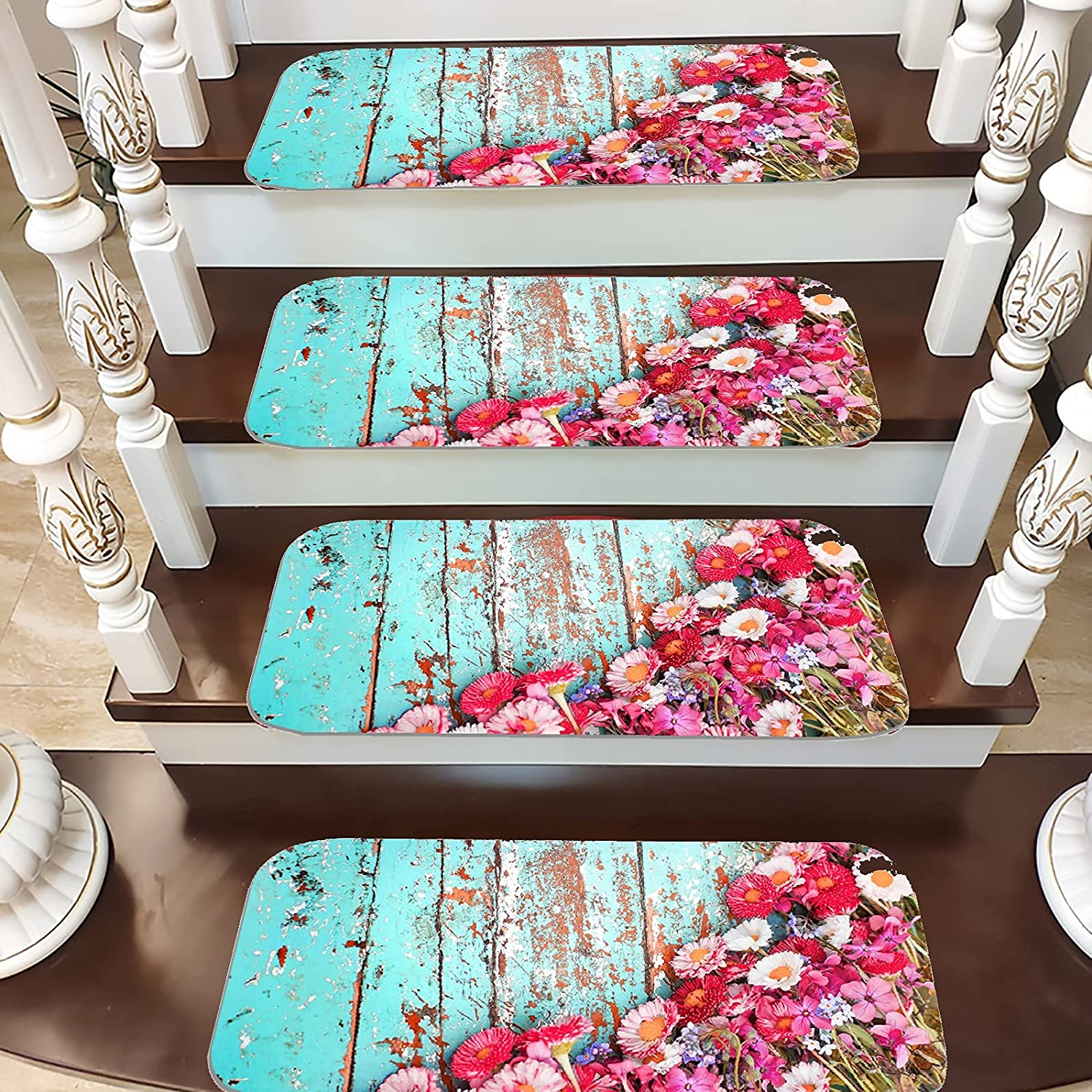YLSS Stair Free shipping anywhere in the nation Pads Doormats Flowers Non Slip Pattern Tr Wood Regular discount