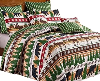 Virah Bella Cabin Lodge Style Winter Christmas Wilderness Black Bear and Moose 3pc King Size Quilt and Pillow Sham Set