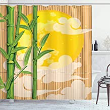 Ambesonne Asian Shower Curtain, Bamboo Tree Branches Full Moon and Abstract Curvy Clouds Stars Eastern, Cloth Fabric Bathroom Decor Set with Hooks, 70