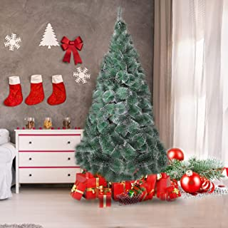 LUCKYERMORE 7ft Christmas Pine Tree Flock Xmas Tree with 295 Snow Flocked Tips, Foldable Stand and Decorations Included