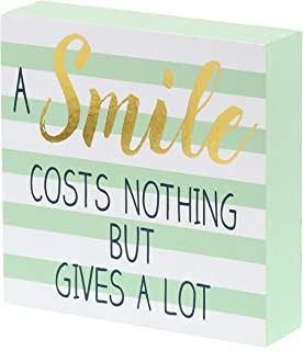 Barnyard Designs A Smile Costs Nothing But Gives A Lot Wooden Box Wall Art Sign, Primitive Country Farmhouse Home Decor Sign with Sayings 6