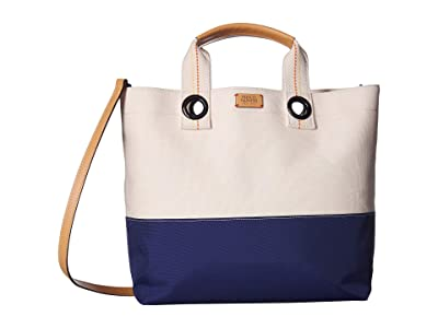 Frances Valentine Flat Tote w/ Top-Handle (Natural/Navy) Handbags