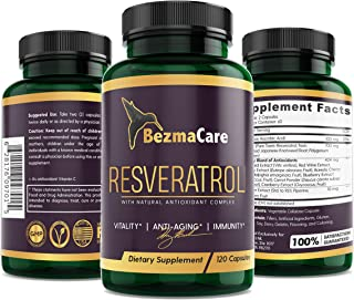 Sponsored Ad - RESVERATROL (Most Potent) Natural Antioxidant Supplement, Piperine Enhanced. Anti-Aging, Boosts Immune Syst...