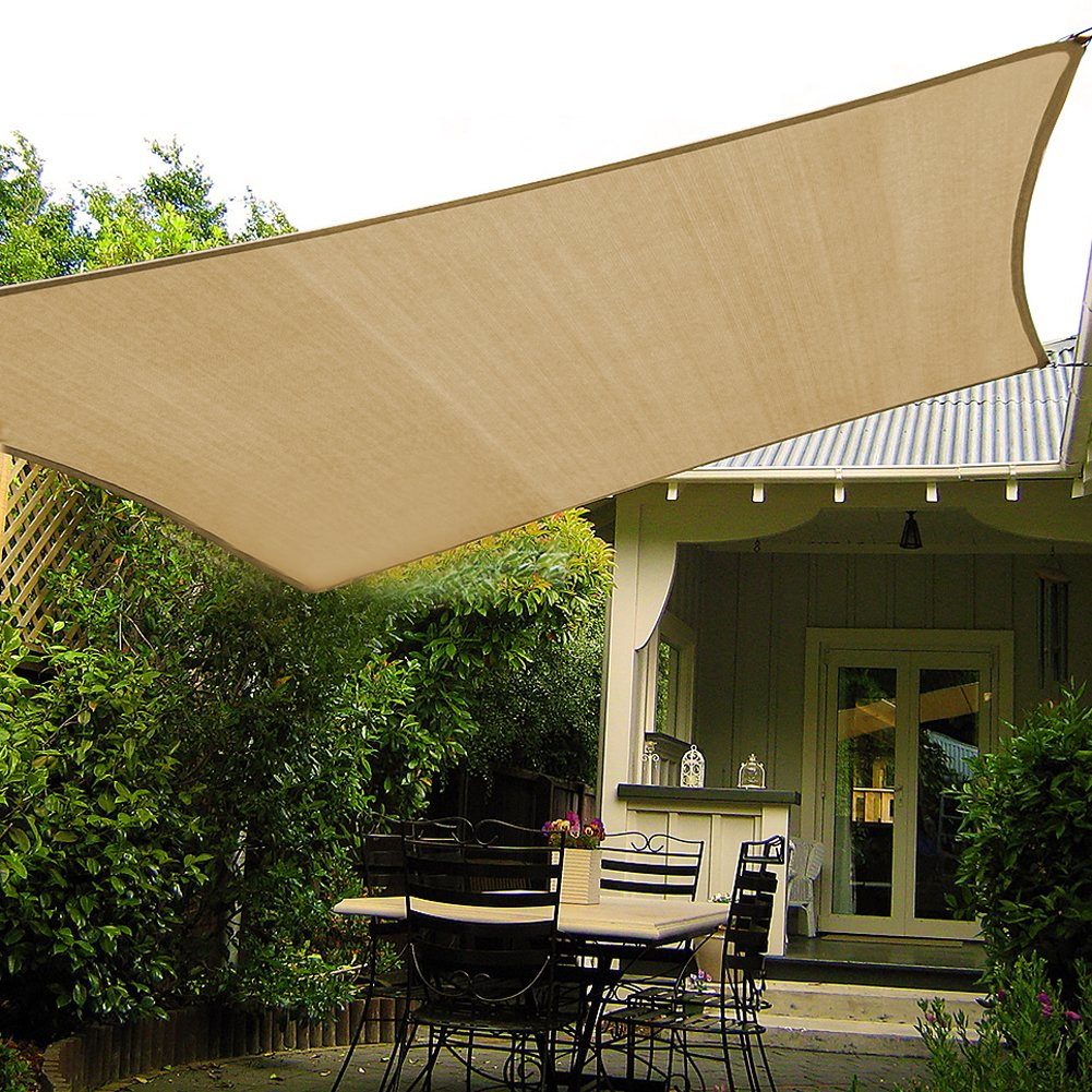 Shade&Beyond - Toldo Rectangular para Patio con Anillas en D (7, 62 x 25, 4 cm): Amazon.es: Jardín