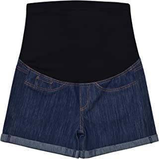 Maternity Denim Jean Shorts Lounge Shorts Pregnancy Short Pants Over The Belly Full Panel