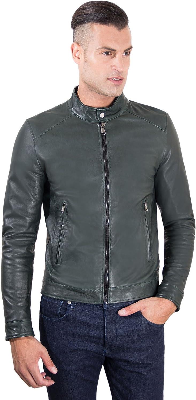Green lamb leather biker jacket korean collar