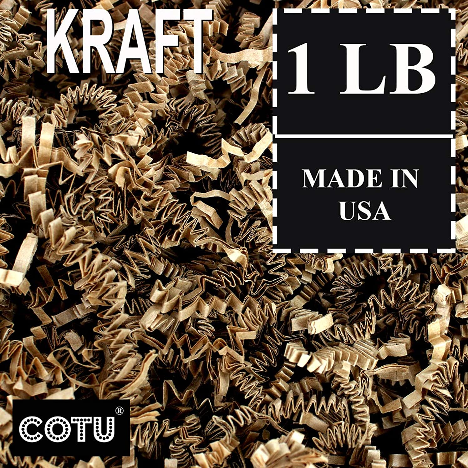1 LB Natural Tan Kraft Crinkle Shred Gift Basket Shred Crinkle Paper Filler Bedding by COTU (16 oz)